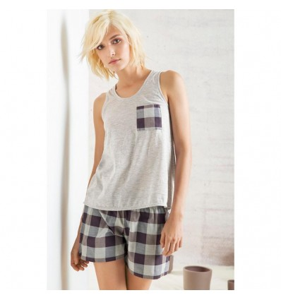Pijama de short-CUADROS-Options-Femenino