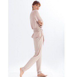 Pijama Pantalon Largo en viscosa Ref 15120. Color Rosa Palido