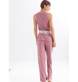 Pantalon en viscosa Ref 1359M. Color Malva