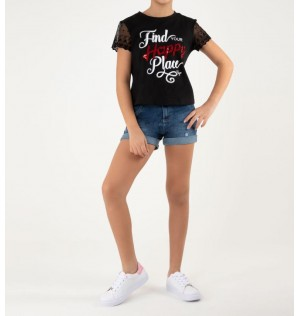 Short para niñas Junior con aplique en letras