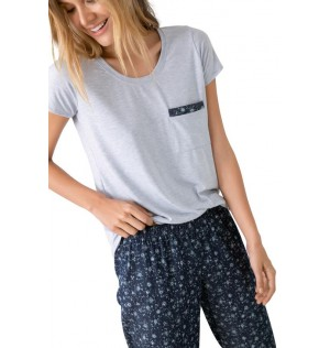 Pijama Pantalon largo Con Camisa Manga Corta Ref 1509092L Estampado Options Intimate